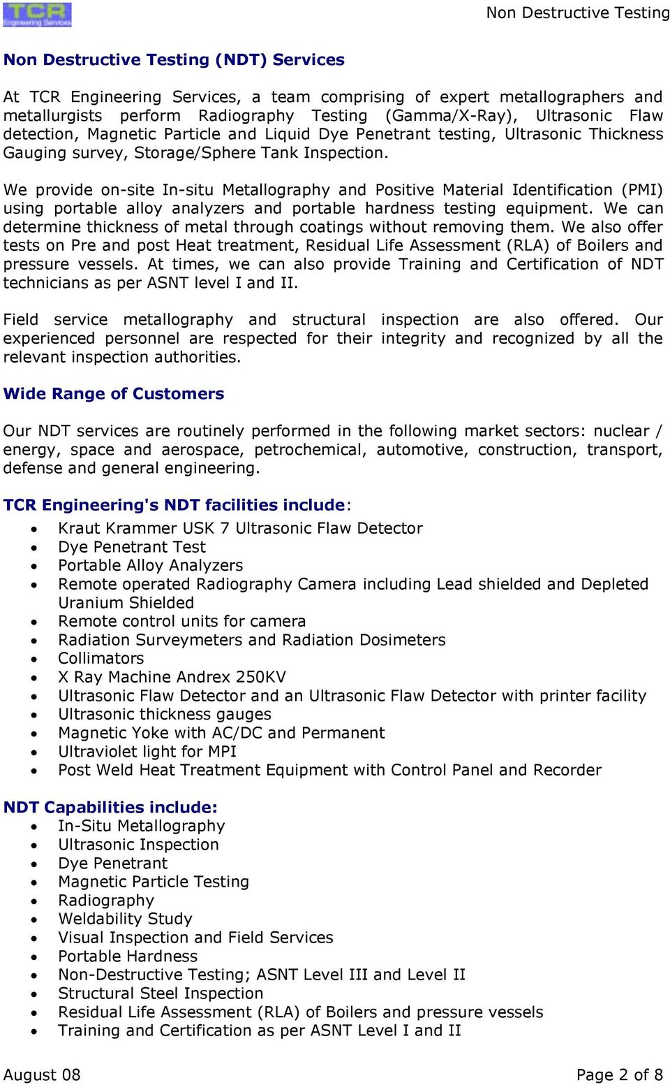 Non Destructive Testing (NDT) TCR Engineering Services A Material ...