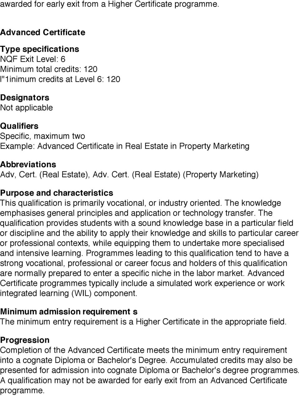 Certificate in Real Estate in Property Marketing Abbreviations Adv, Cert.