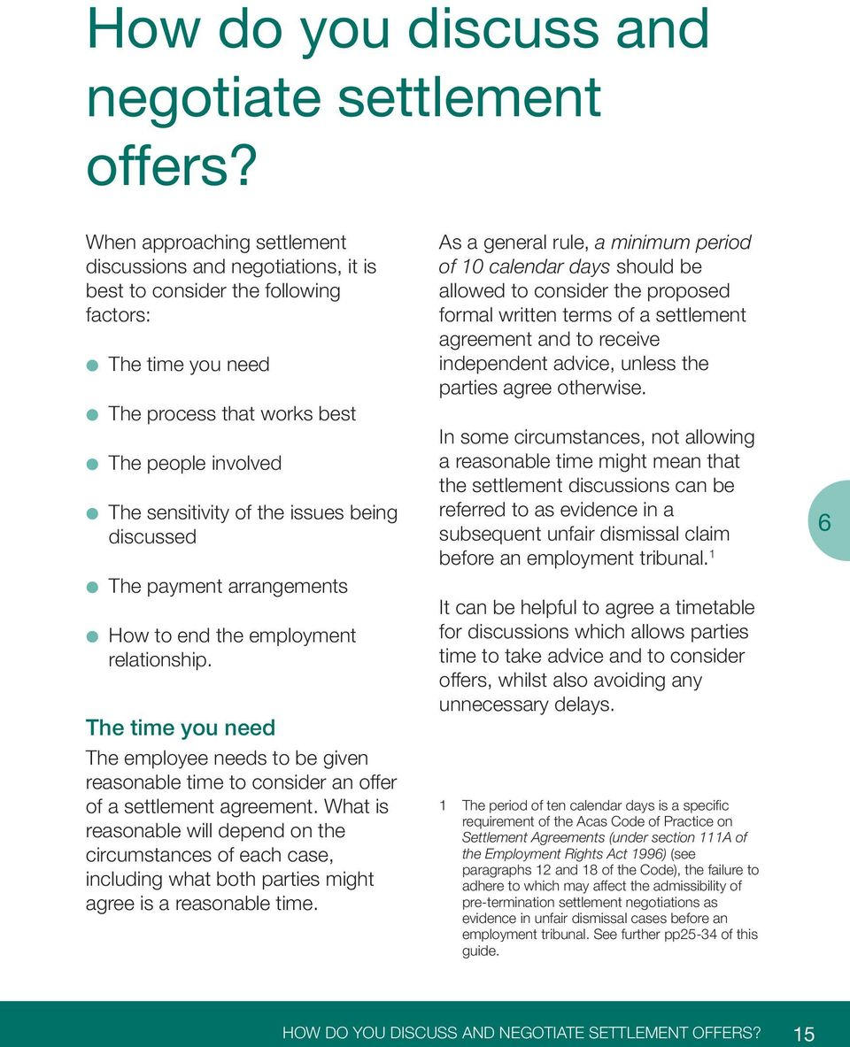 being discussed The payment arrangements How to end the employment relationship. The time you need The employee needs to be given reasonable time to consider an offer of a settlement agreement.
