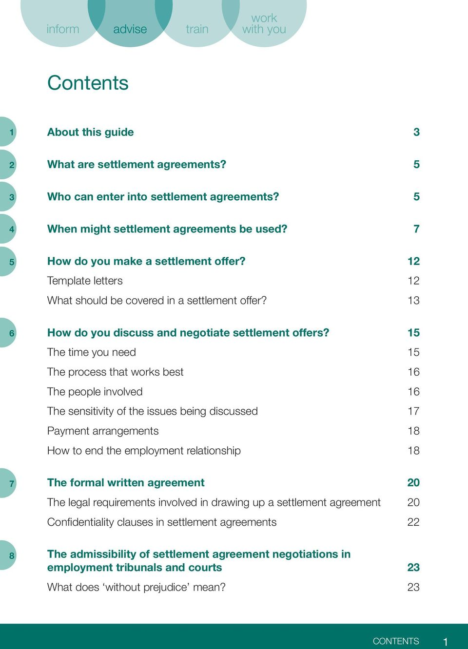 15 The time you need 15 The process that works best 16 The people involved 16 The sensitivity of the issues being discussed 17 Payment arrangements 18 How to end the employment relationship 18 7 The