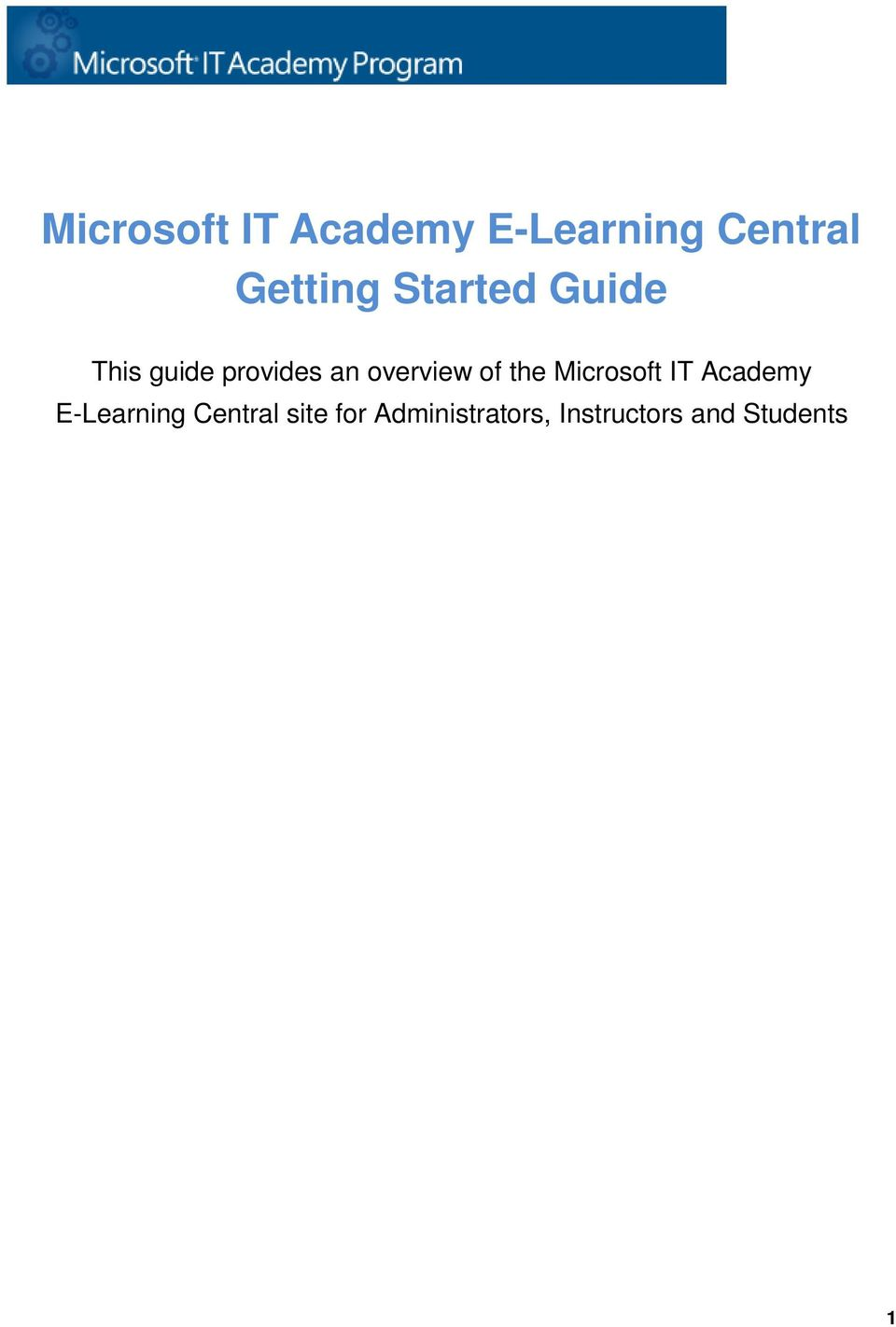 of the Microsoft IT Academy E-Learning Central