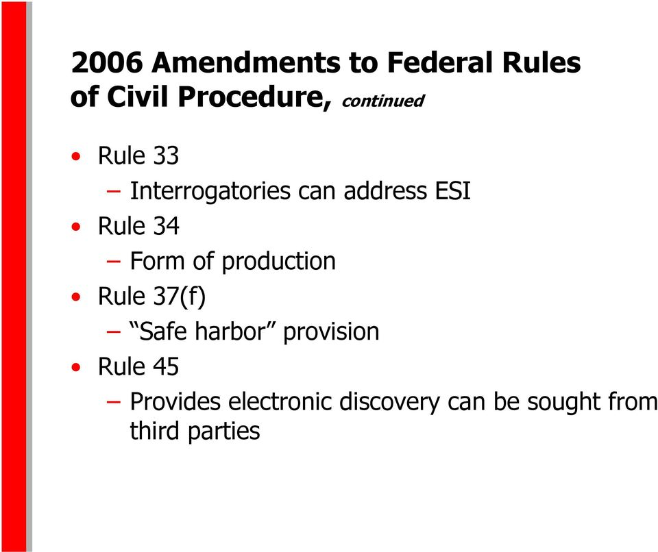 Form of production Rule 37(f) Safe harbor provision Rule
