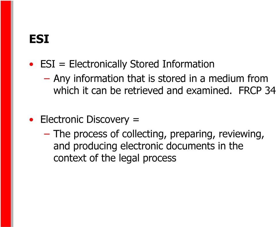 FRCP 34 Electronic Discovery = The process of collecting, preparing,