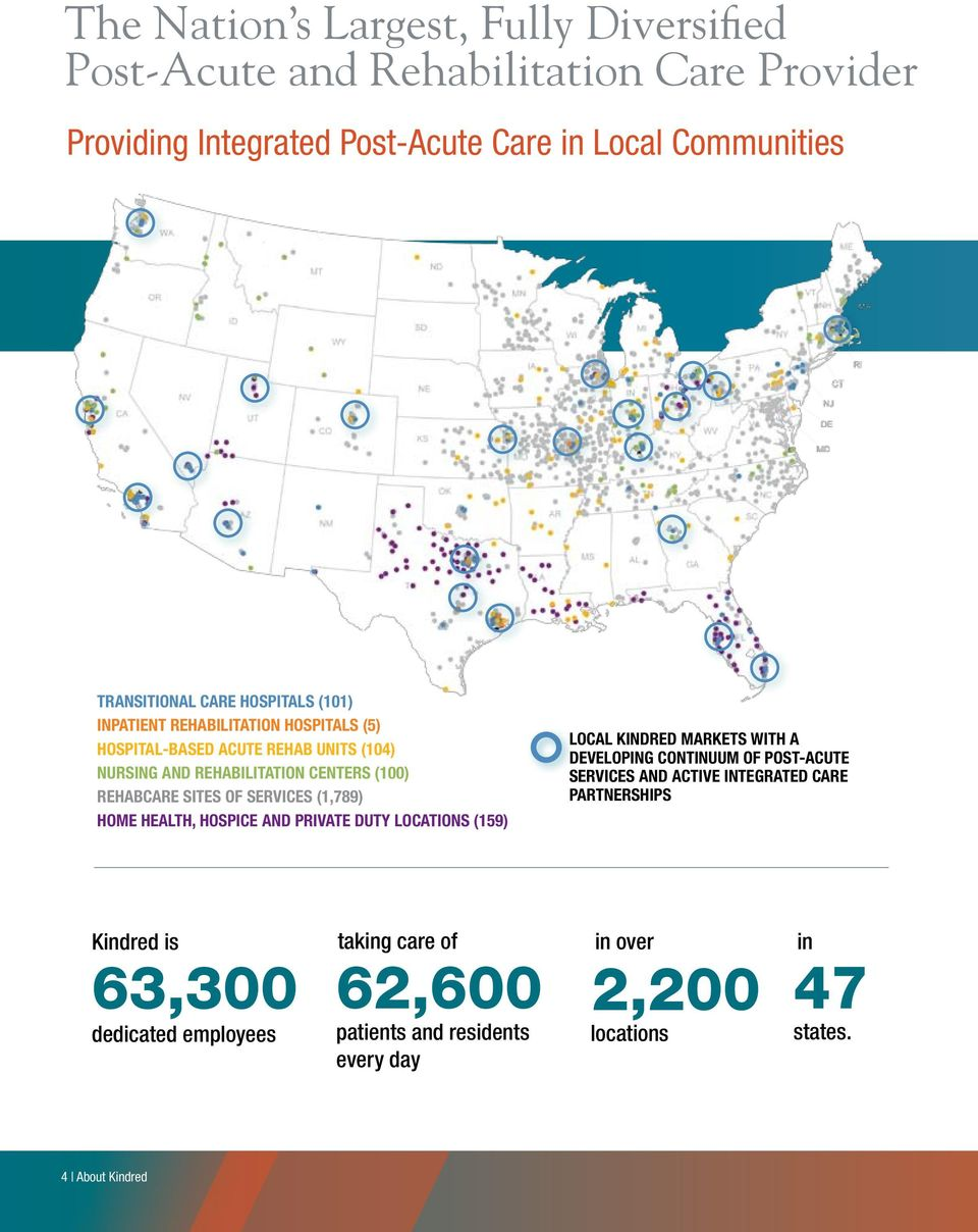 SERVICES (1,789) HOME HEALTH, HOSPICE AND PRIVATE DUTY LOCATIONS (159) LOCAL KINDRED MARKETS with A DEVELOPING continuum of post-acute services AND active