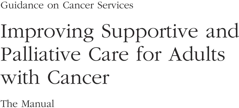 Supportive and Palliative