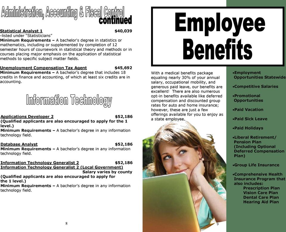 Unemployment Compensation Tax Agent $45,692 Minimum Requirements A bachelor s degree that includes 18 credits in finance and accounting, of which at least six credits are in accounting.