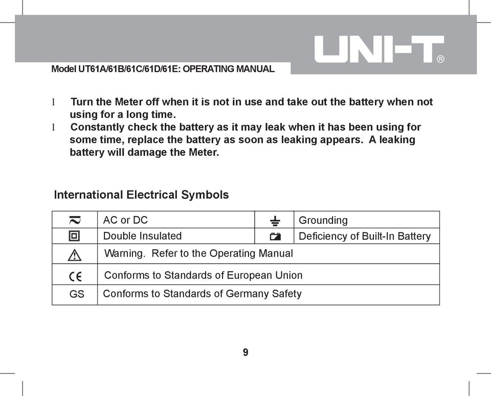 appears. A leaking battery will damage the Meter. International Electrical Symbols AC or DC Double Insulated Warning.