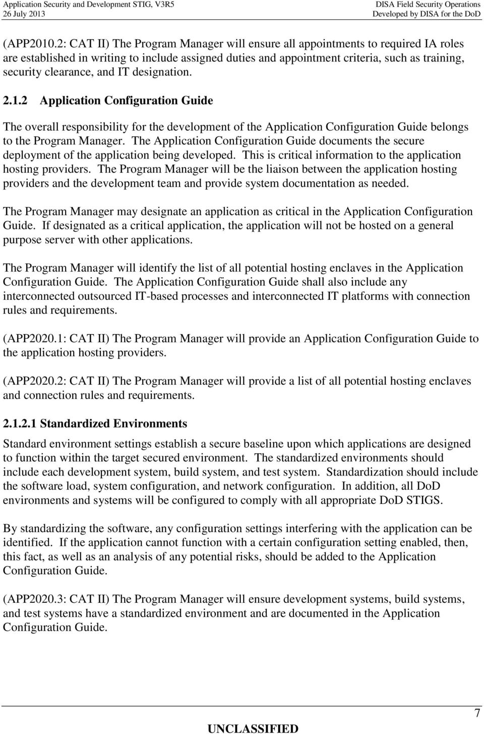 APPLICATION SECURITY AND DEVELOPMENT SECURITY TECHNICAL ...