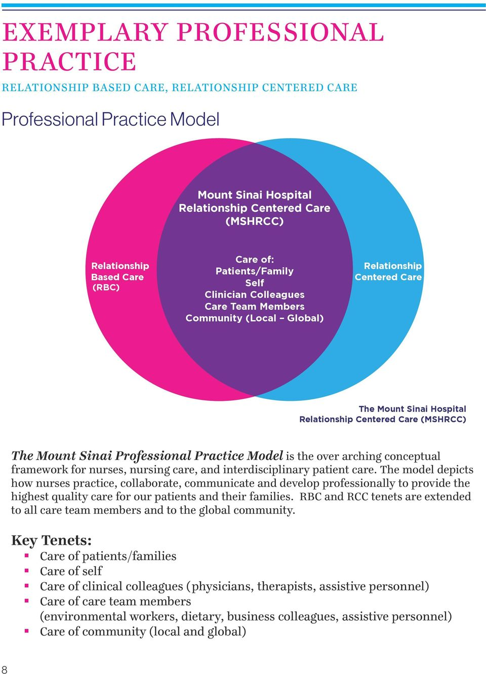 Care (MSHRCC) The Mount Sinai Professional Practice Model is the over arching conceptual framework for nurses, nursing care, and interdisciplinary patient care.