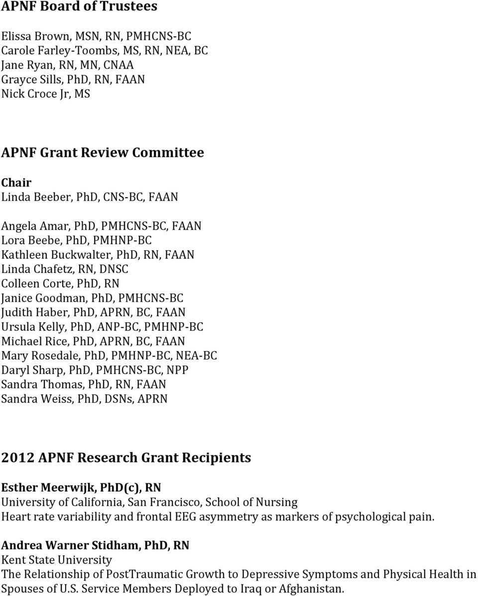 Haber, PhD, APRN,, FAAN Ursula Kelly, PhD, ANP-, PMHNP- Michael Rice, PhD, APRN,, FAAN Mary Rosedale, PhD, PMHNP-, NEA- Daryl Sharp, PhD, PMHCNS-, NPP Sandra Thomas, PhD, RN, FAAN Sandra Weiss, PhD,