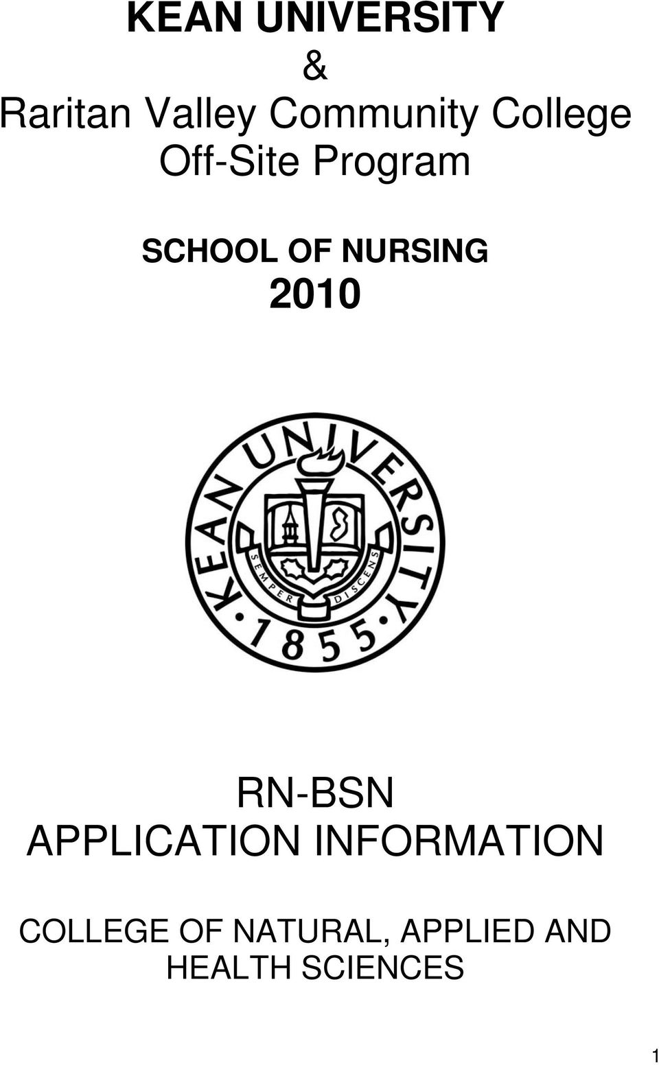 2010 RN-BSN APPLICATION INFORMATION