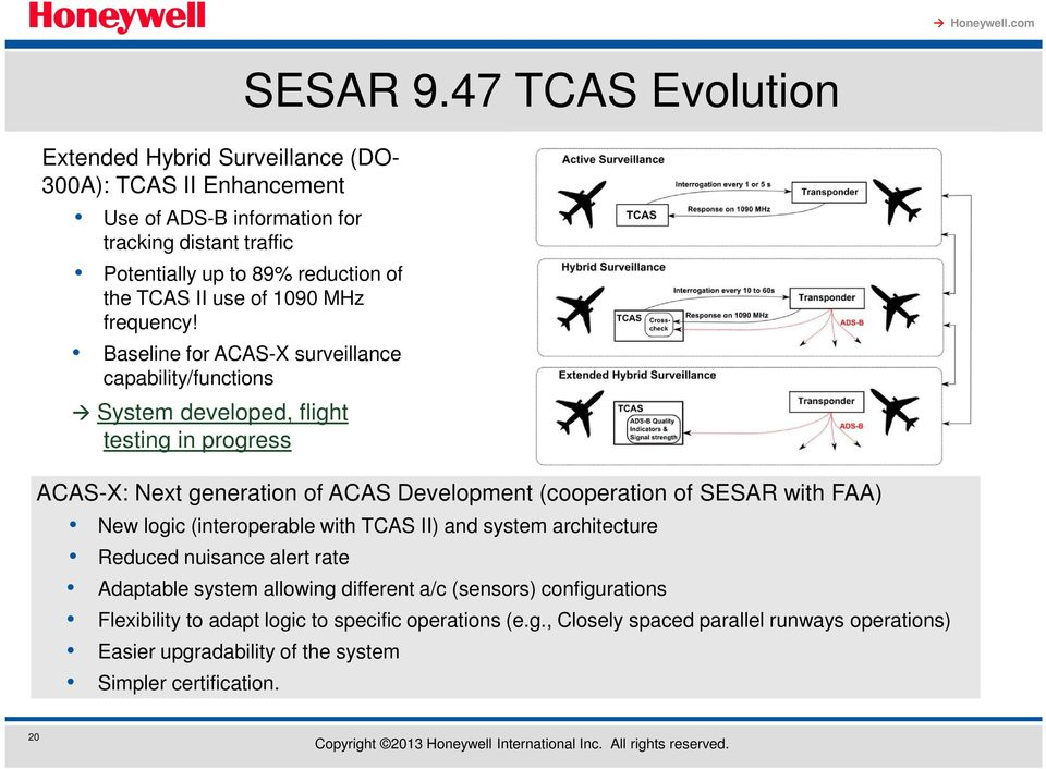 47 TCAS Evolution ACAS-X: Next generation of ACAS Development (cooperation of SESAR with FAA) New logic (interoperable with TCAS II) and system architecture Reduced nuisance