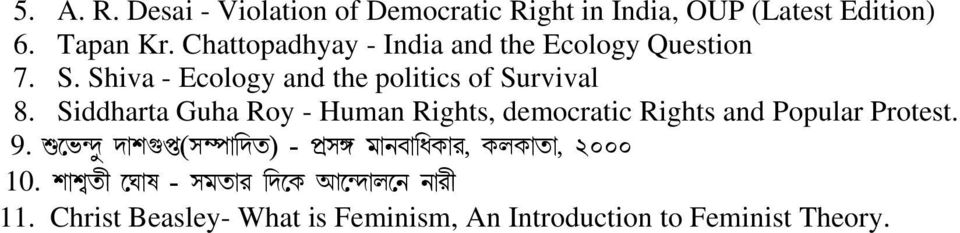 Siddharta Guha Roy - Human Rights, democratic Rights and Popular Protest. 9.