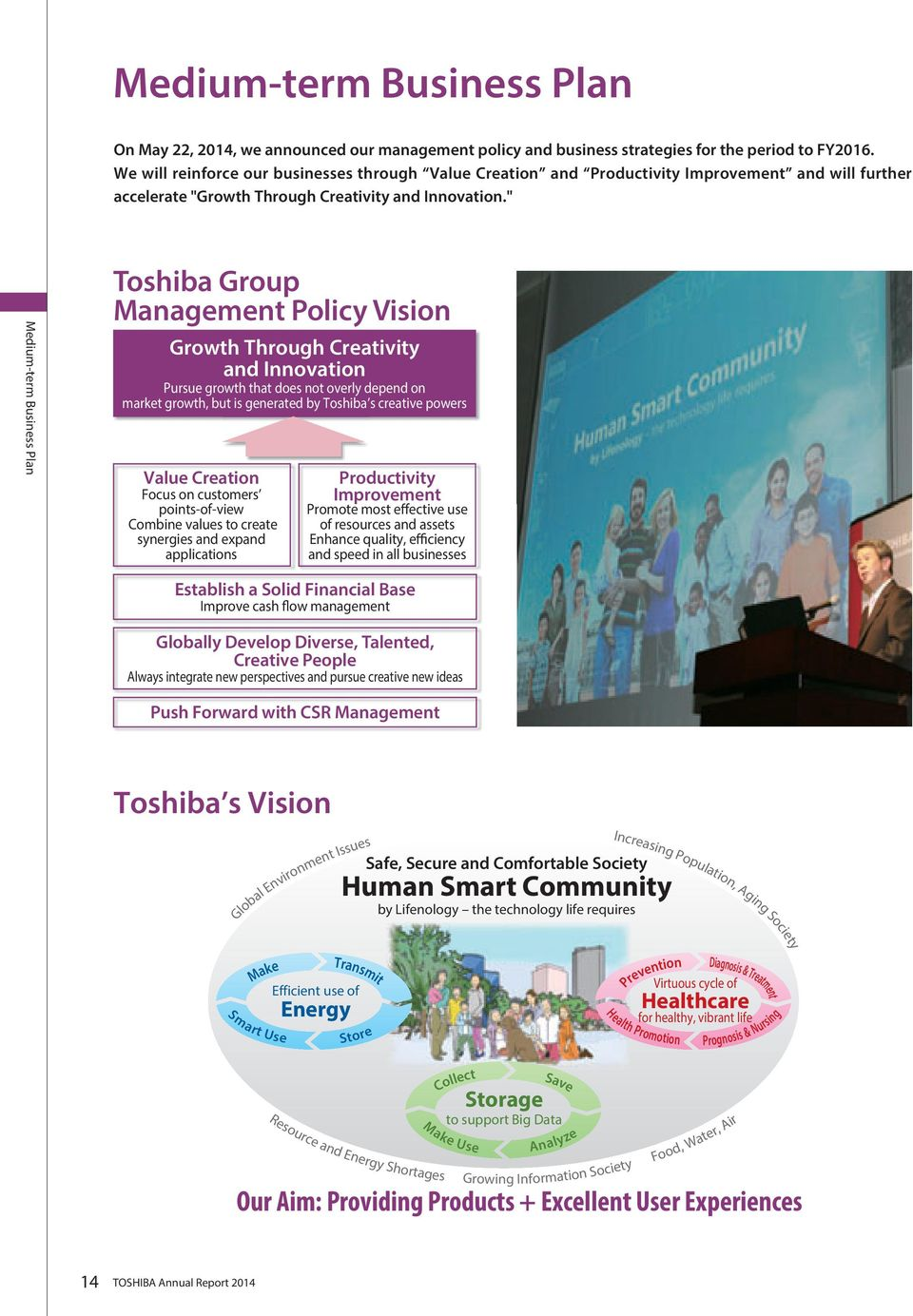 """ Medium-term Business Plan Toshiba Group Management Policy Vision Growth Through Creativity and Innovation Pursue growth that does not overly depend on market growth, but is generated by Toshiba s"