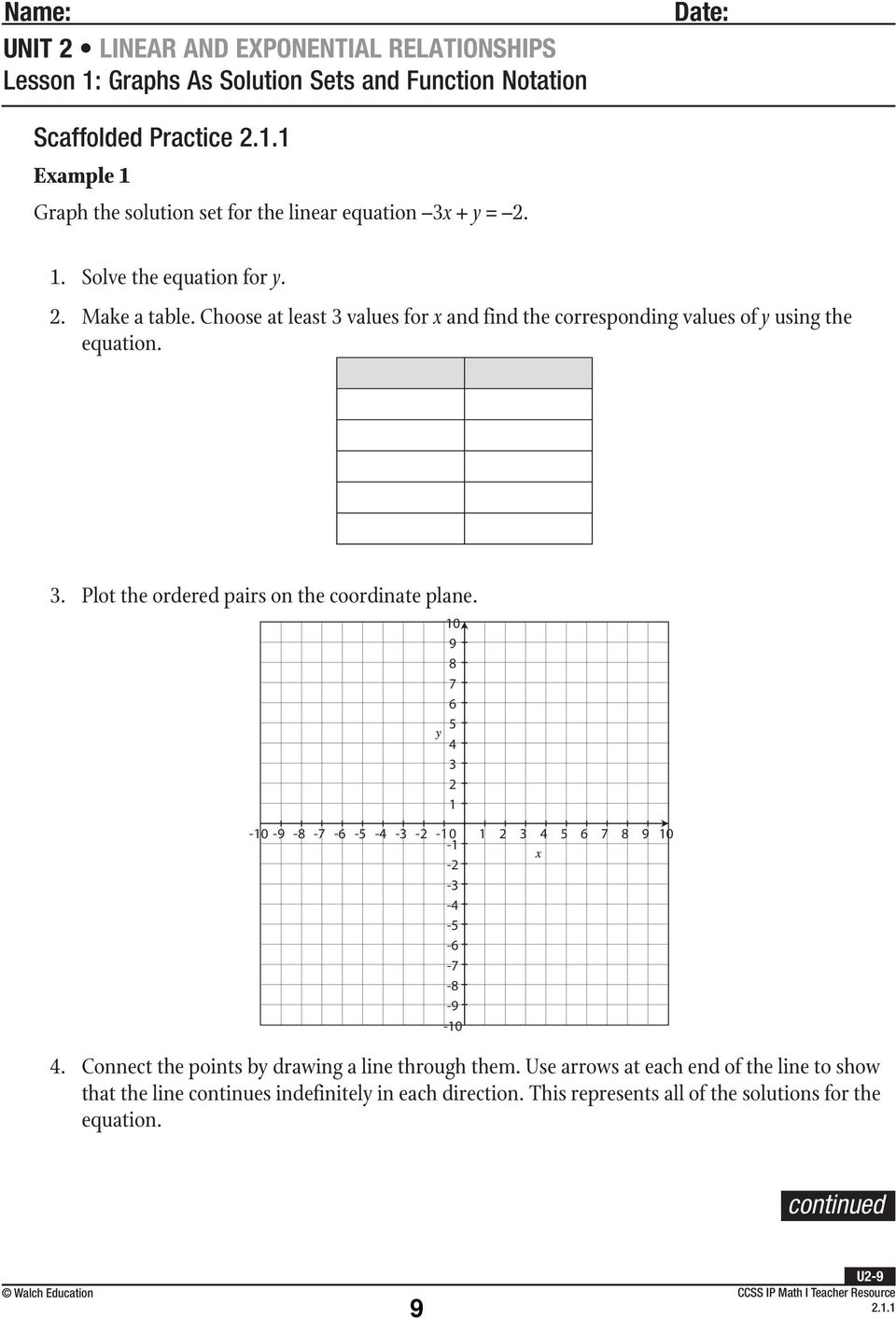 Function notation and operations worksheet answer key