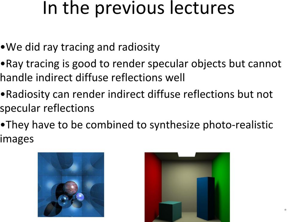 reflections well Radiosity can render indirect diffuse reflections but not