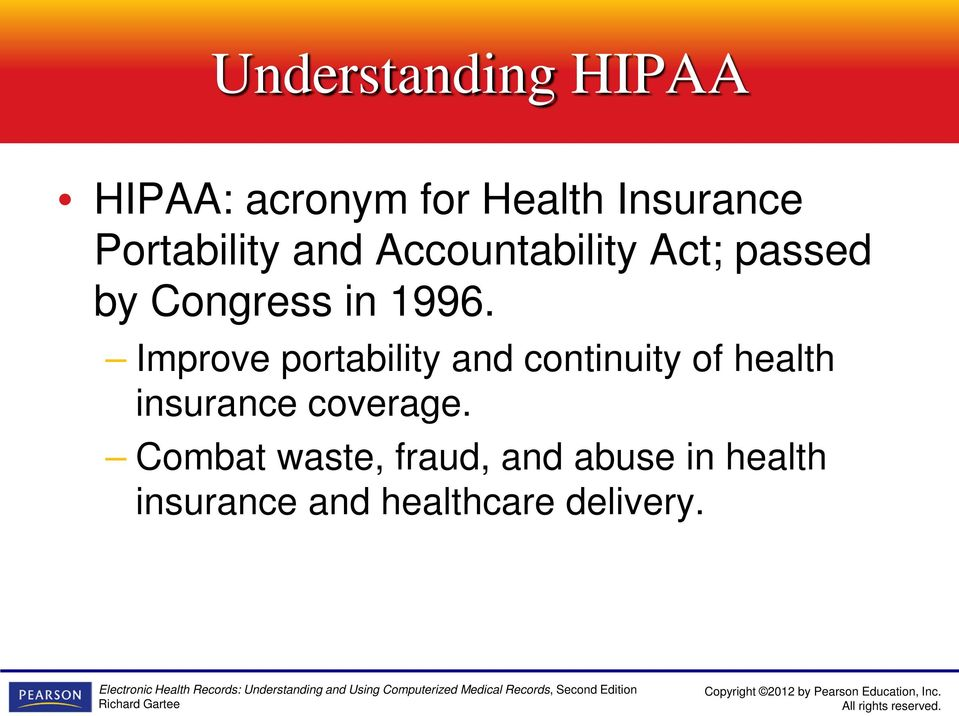 Improve portability and continuity of health insurance coverage.