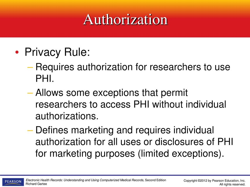 individual authorizations.