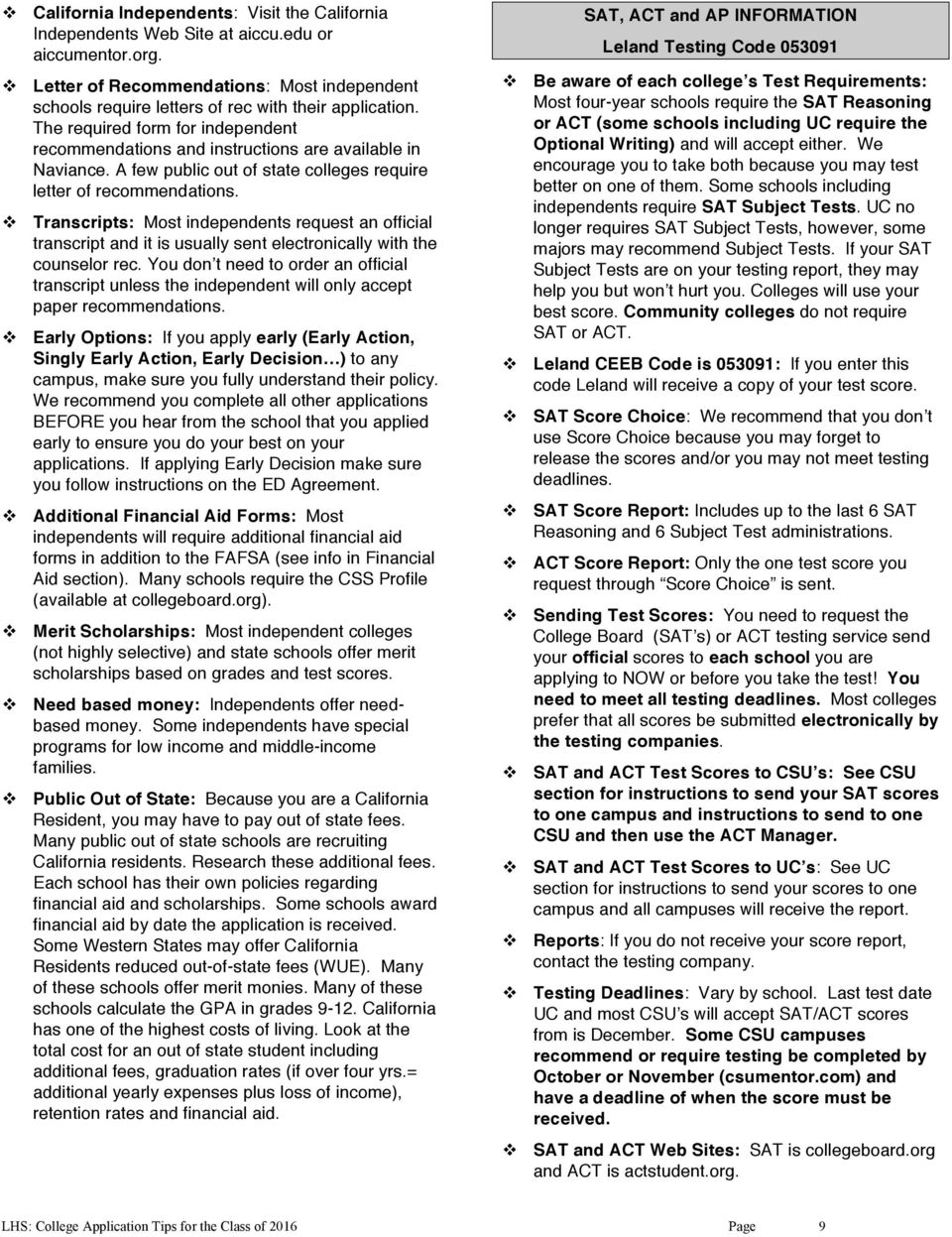 LELAND HIGH SCHOOL COLLEGE APPLICATION TIPS FOR THE CLASS OF PDF