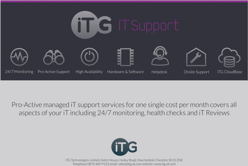 it including 24/7 monitoring, health checks and it Reviews itg Technologies Limited, Amtri House, Hulley