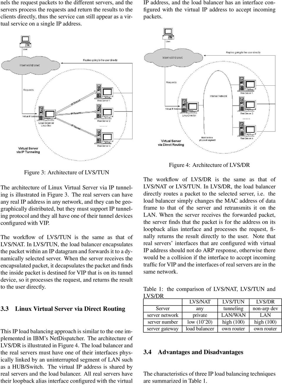 Figure 3: Architecture of LVS/TUN The architecture of Linux Virtual Server via IP tunneling is illustrated in Figure 3.