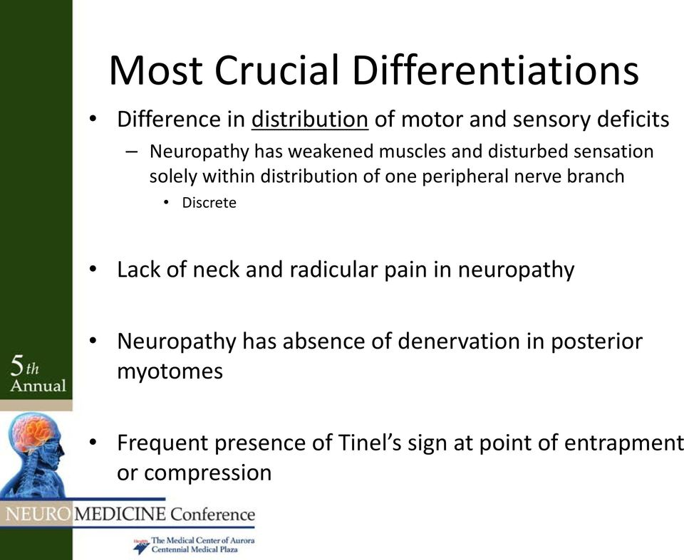 peripheral nerve branch Discrete Lack of neck and radicular pain in neuropathy Neuropathy has