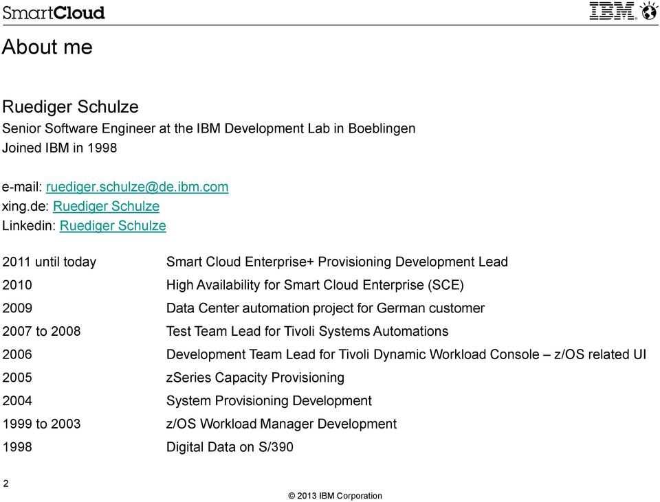 Enterprise (SCE) 2009 Data Center automation project for German customer 2007 to 2008 Test Team Lead for Tivoli Systems Automations 2006 Development Team Lead for