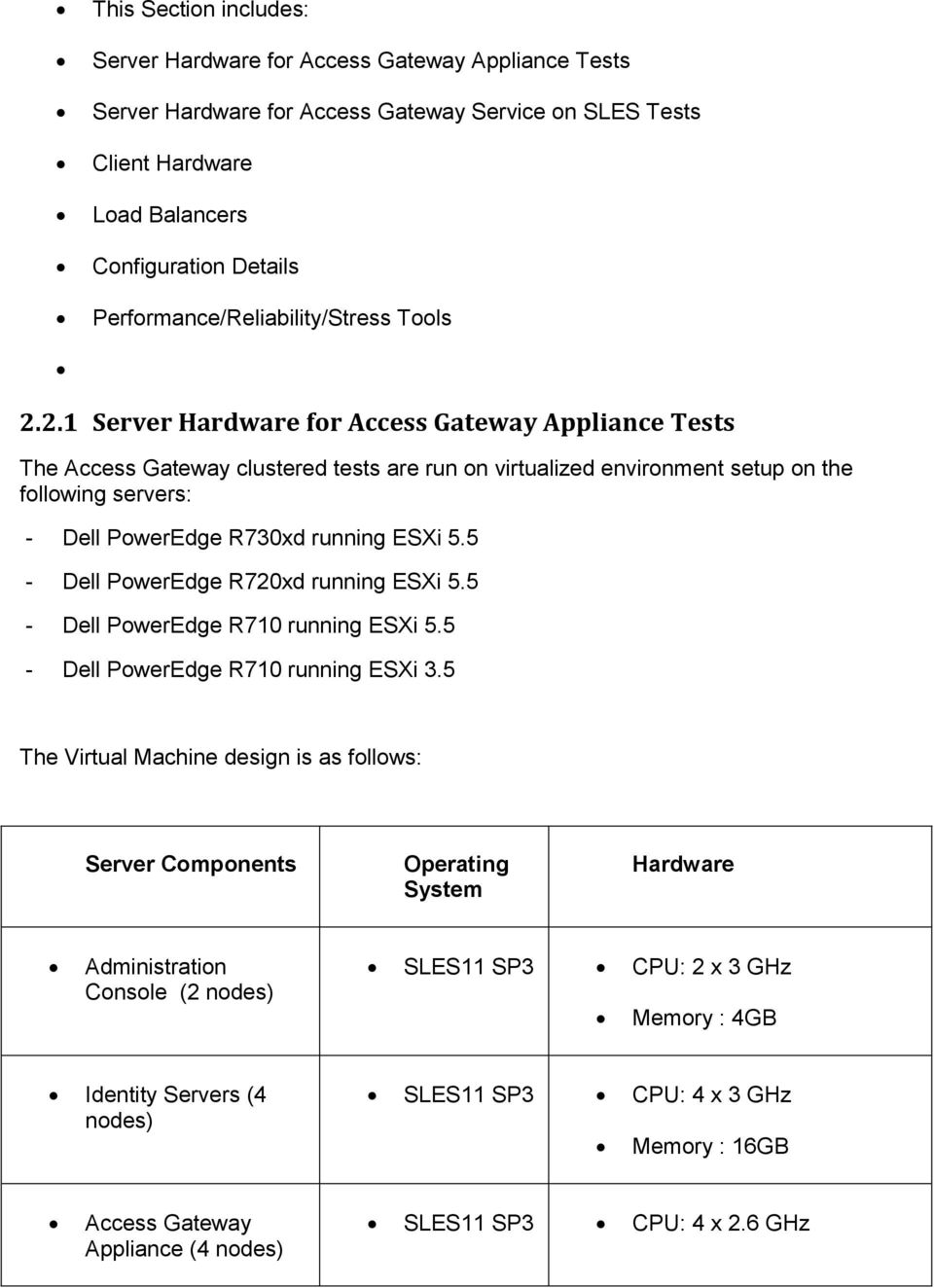 2.1 Server Hardware for Access Gateway Appliance Tests The Access Gateway clustered tests are run on virtualized environment setup on the following servers: - Dell PowerEdge R730xd running ESXi 5.