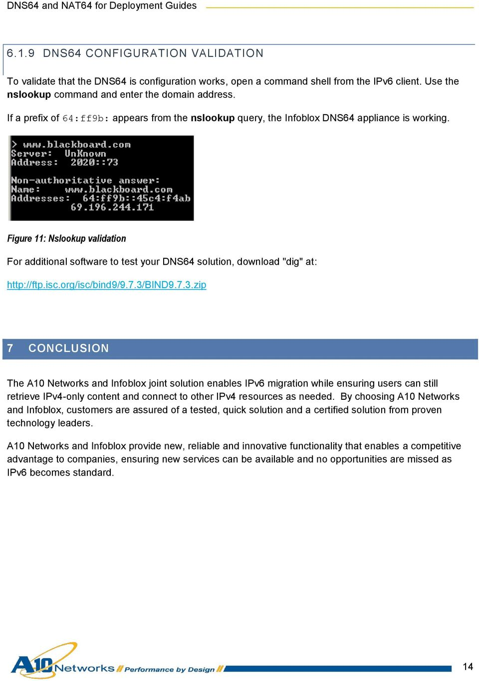 "Figure 11: Nslookup validation For additional software to test your DNS64 solution, download ""dig"" at: http://ftp.isc.org/isc/bind9/9.7.3/"