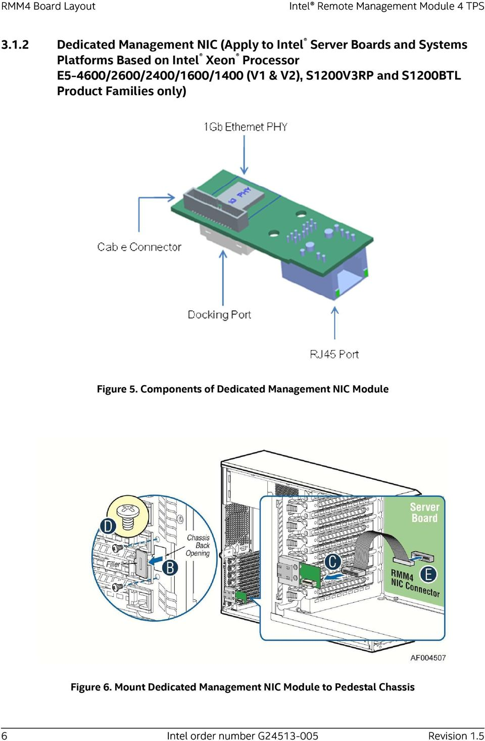 Processor E5-4600/2600/2400/1600/1400 (V1 & V2), S1200V3RP and S1200BTL Product Families only) Figure 5.