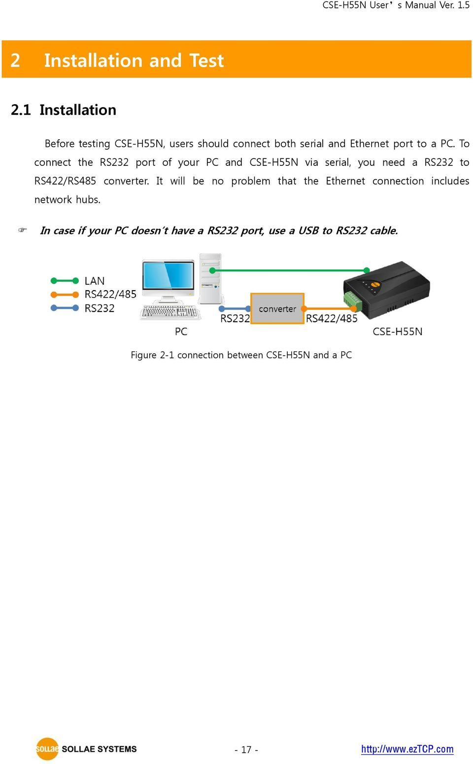 To connect the RS232 port of your PC and CSE-H55N via serial, you need a RS232 to RS422/RS485 converter.