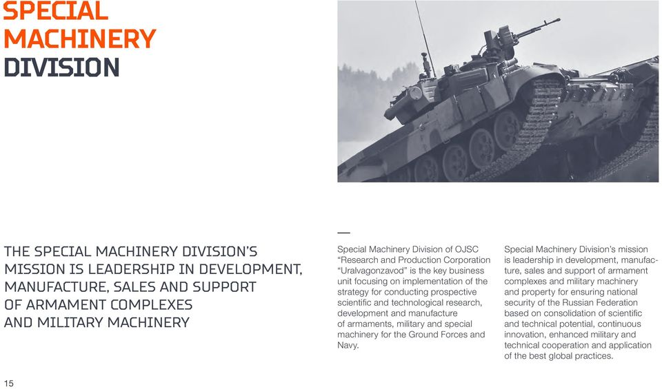 research, development and manufacture of armaments, military and special machinery for the Ground Forces and Navy.