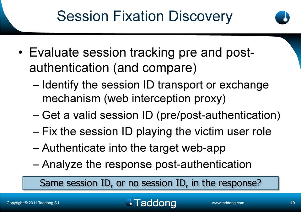 ID (pre/post-authentication) Fix the session ID playing the victim user role Authenticate into the
