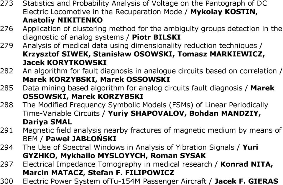 MARKIEWICZ, Jacek KORYTKOWSKI 282 An algorithm for fault diagnosis in analogue circuits based on correlation / Marek KORZYBSKI, Marek OSSOWSKI 285 Data mining based algorithm for analog circuits