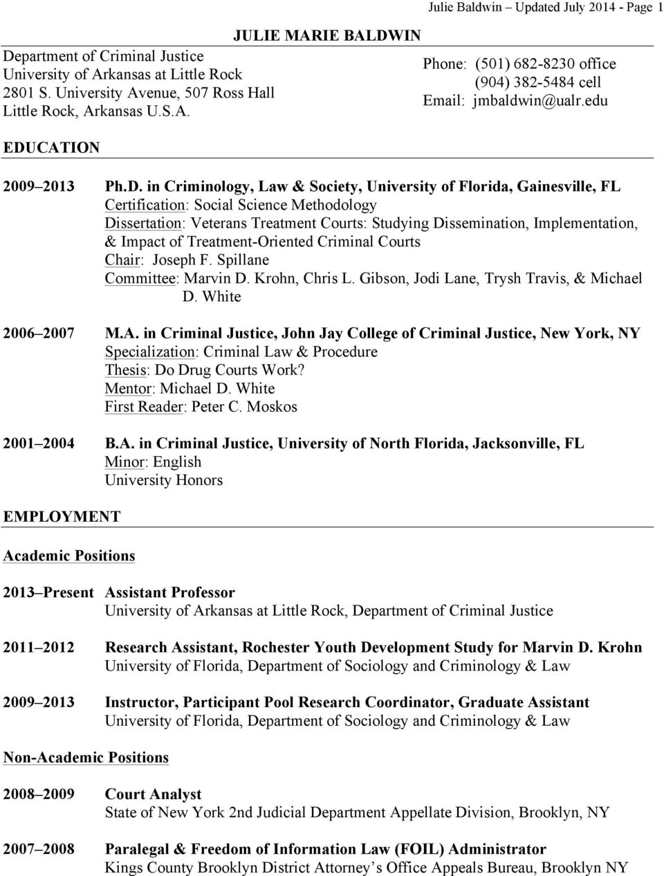 Impact of Treatment-Oriented Criminal Courts Chair: Joseph F. Spillane Committee: Marvin D. Krohn, Chris L. Gibson, Jodi Lane, Trysh Travis, & Michael D. White 2006 2007 M.A.