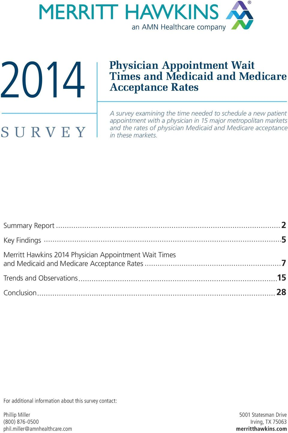 Summary Report Key Findings 2 5 Merritt Hawkins Physician Appointment Wait Times and Medicaid and Medicare Acceptance Rates Trends and Observations