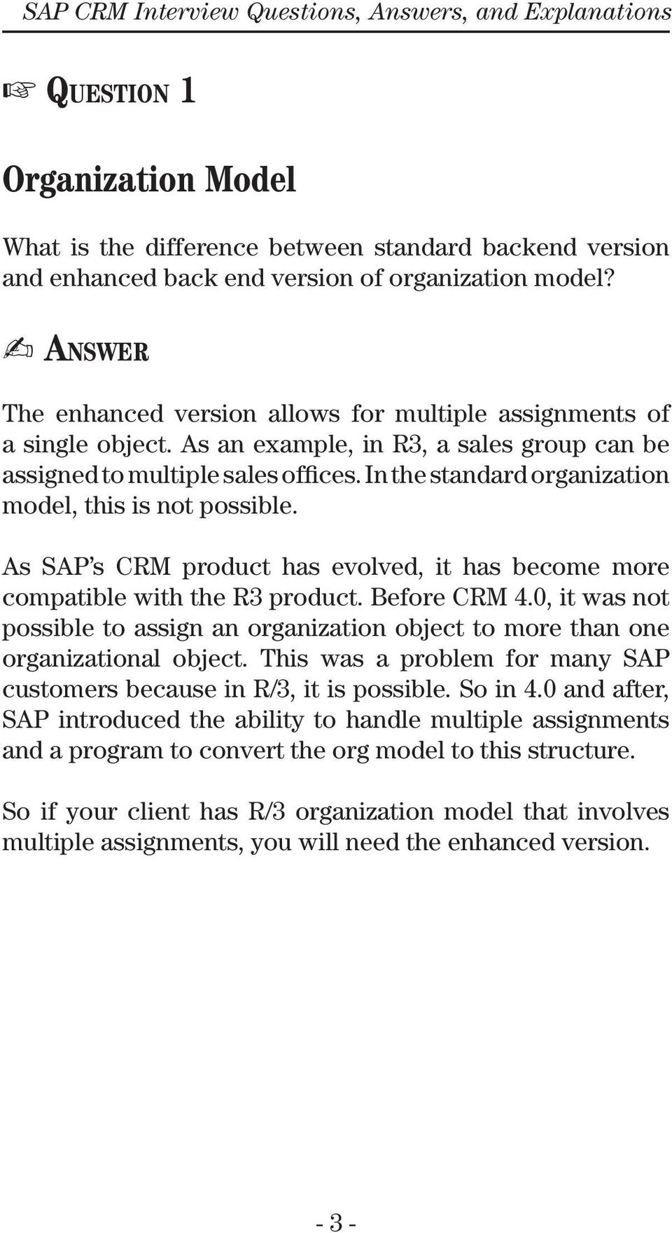 sap crm interview questions answers and explanations pdf in the standard organization model this is not possible as sap s crm product
