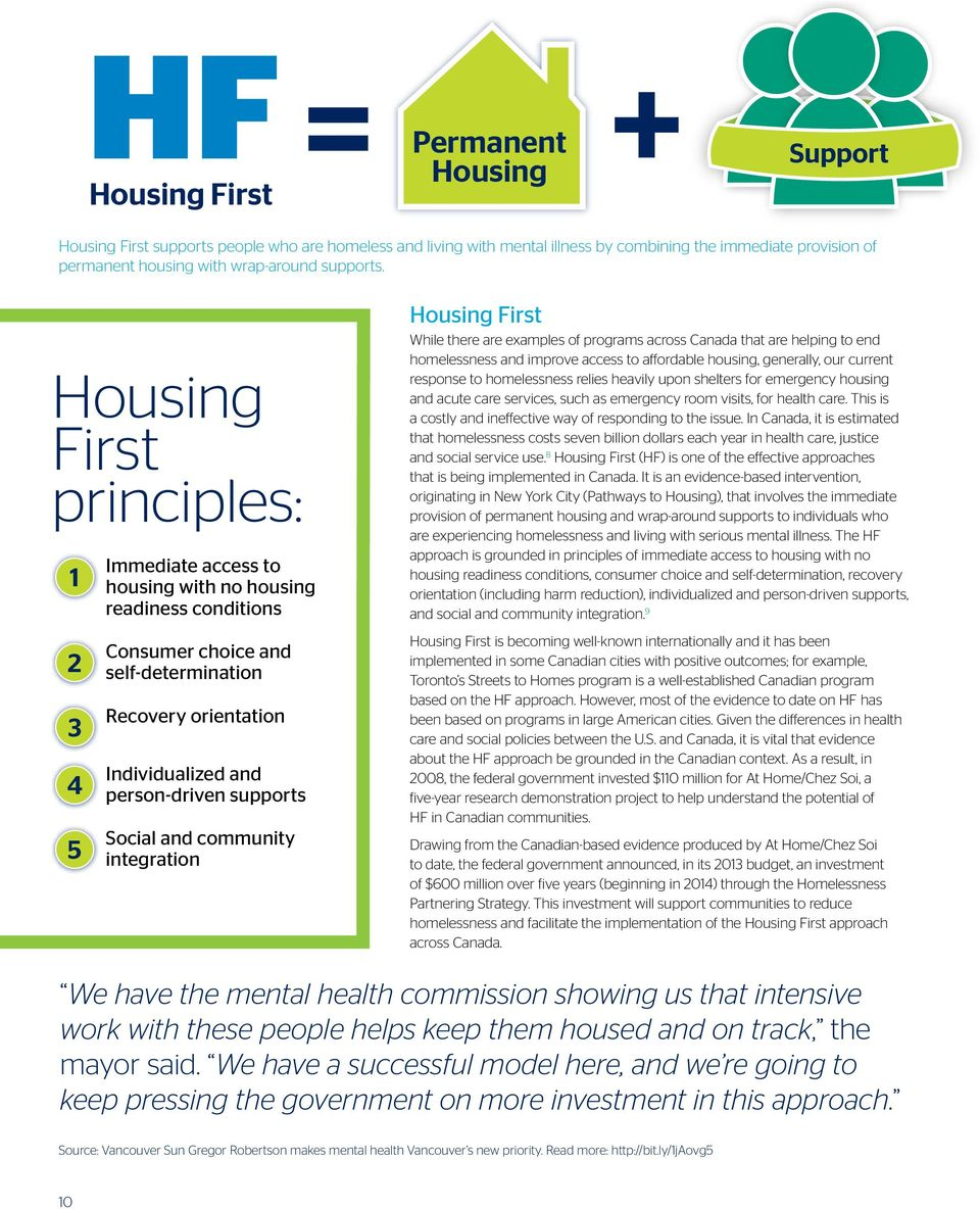 Housing First principles: 1 2 3 4 5 Immediate access to housing with no housing readiness conditions Consumer choice and self-determination Recovery orientation Individualized and person-driven