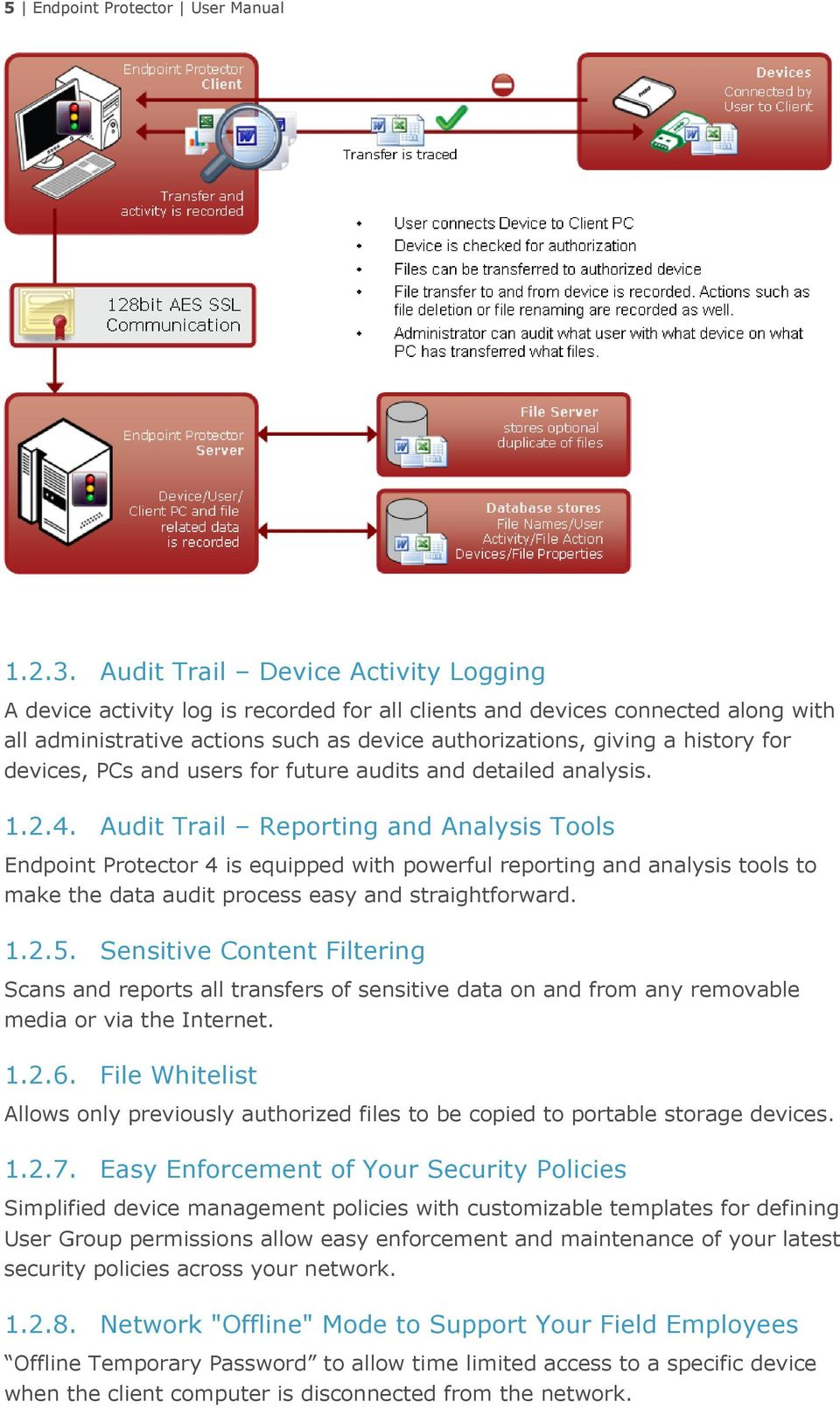 devices, PCs and users for future audits and detailed analysis. 1.2.4.