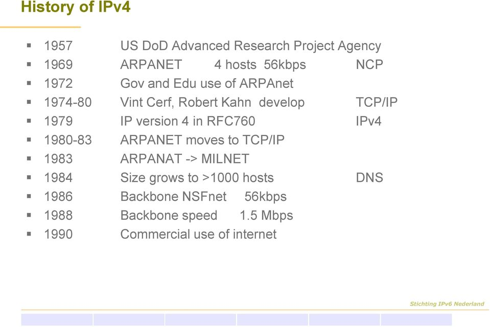 in RFC760 IPv4 1980-83 ARPANET moves to TCP/IP 1983 ARPANAT -> MILNET 1984 Size grows to >1000