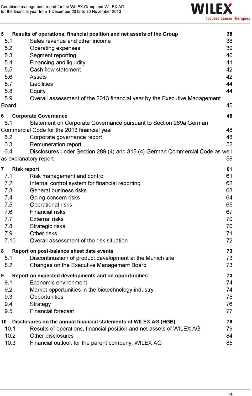 9 Overall assessment of the 2013 financial year by the Executive Management Board 45 6 Corporate Governance 48 6.