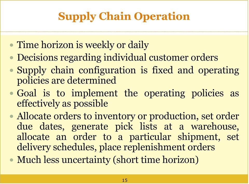 as possible Allocate orders to inventory or production, set order due dates, generate pick lists at a warehouse, allocate