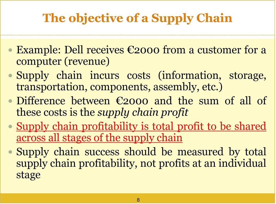 ) Difference between 2000 and the sum of all of these costs is the supply chain profit Supply chain profitability is