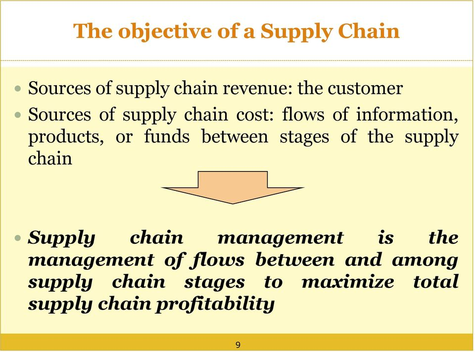 stages of the supply chain Supply chain management is the management of flows