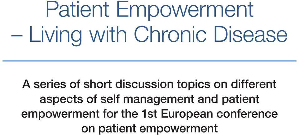 aspects of self management and patient empowerment