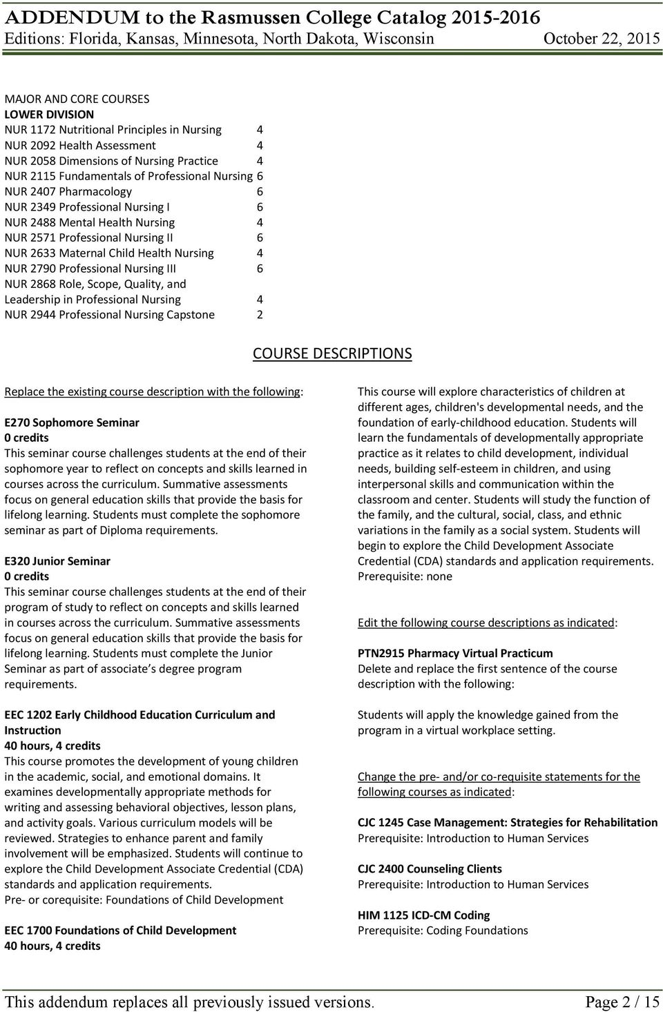 2868 Role, Scope, Quality, and Leadership in Professional Nursing 4 NUR 2944 Professional Nursing Capstone 2 COURSE DESCRIPTIONS Replace the existing course description with the following: E270