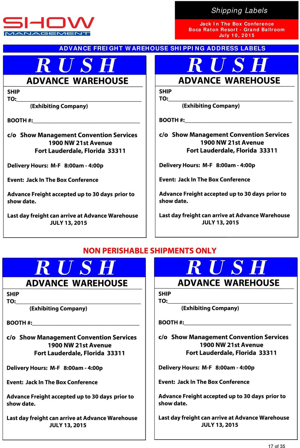 2015 ADVANCE FREIGHT WAREHOUSE SHIPPING