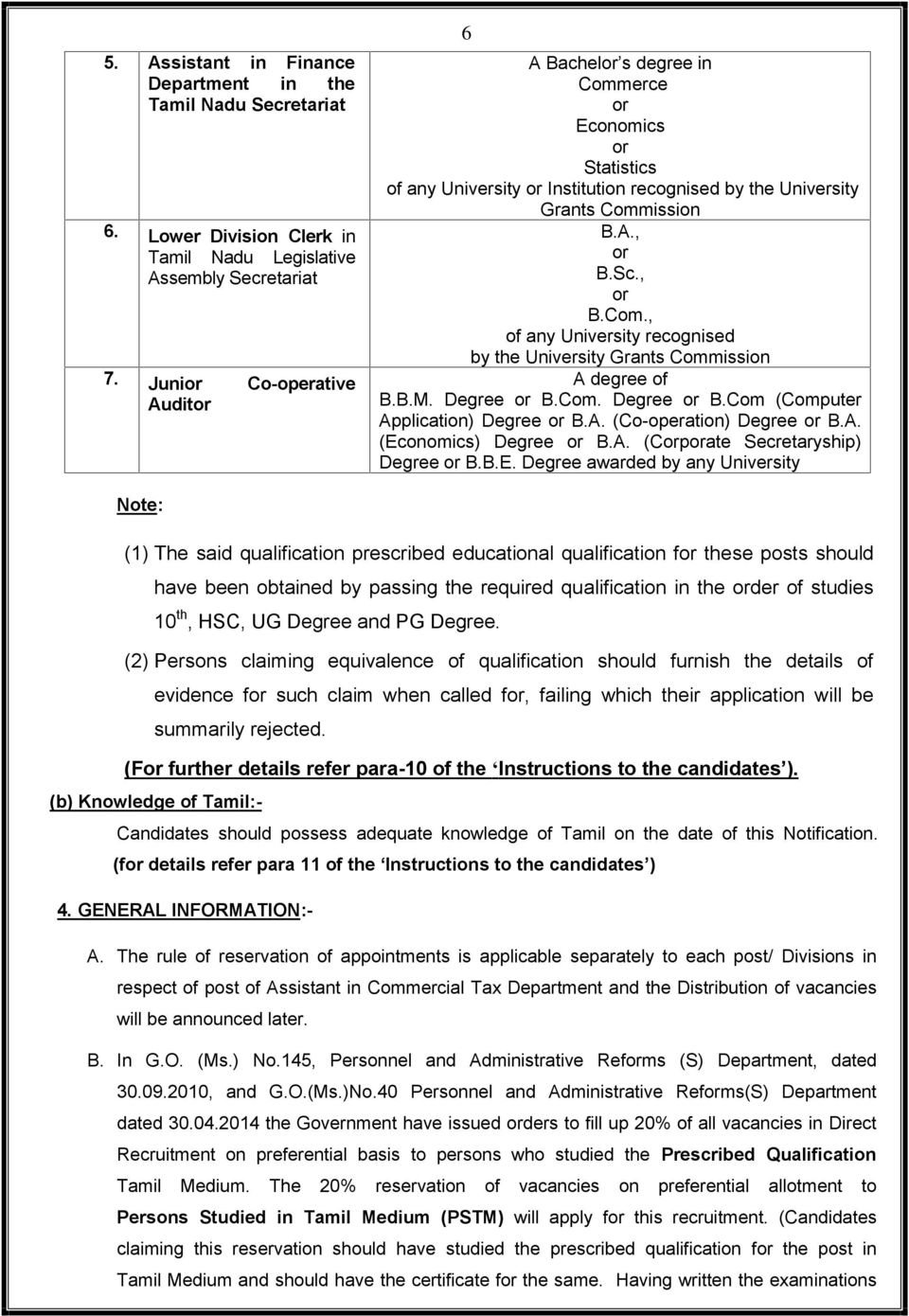 B.M. Degree or B.Com. Degree or B.Com (Computer Application) Degree or B.A. (Co-operation) Degree or B.A. (Ec