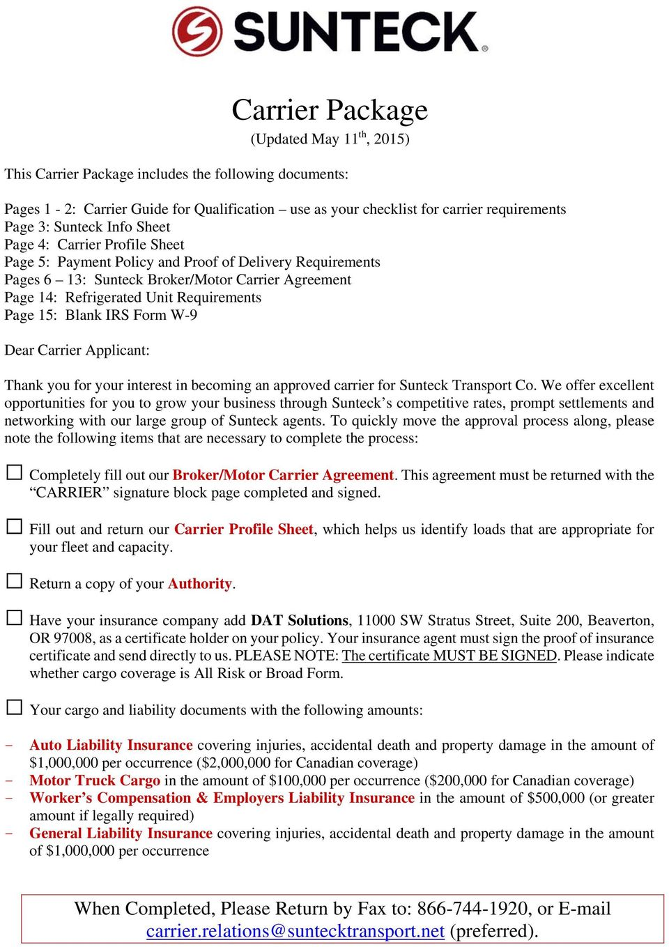 Page 15: Blank IRS Form W-9 Dear Carrier Applicant: Thank you for your interest in becoming an approved carrier for Sunteck Transport Co.