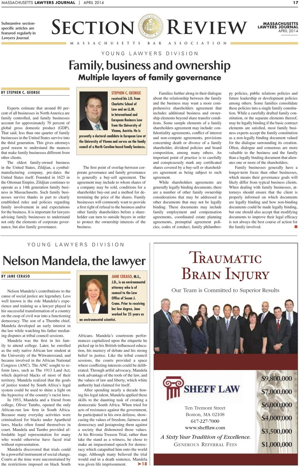 Massachusetts Lawyers Journal April 2014 By Stephen C.